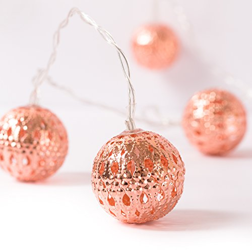 Ling's moment Rose Gold Moroccan Lamp 10 LED Boho Decor Globe String Lights for Indoor, Bedroom, Curtain, Patio, Holiday, Party, Decorations (Warm White) by Ling's moment
