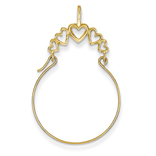 14K Yellow Gold 5-Heart Charm Holder Pendant ()