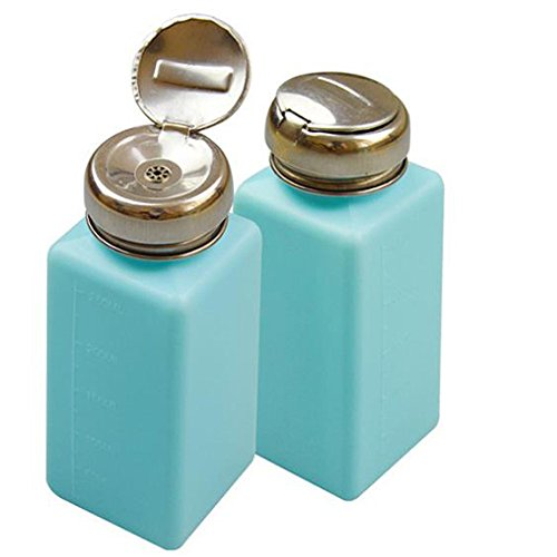 KEAIYYJ Stainless Steel One-Touch Liquid Dispenser Pump ESD Safe durAstatic Square Bottle for Alcohol/Nail Polish Remover Empty Plastic Bottles Light Blue 2 Pack IFANLEE