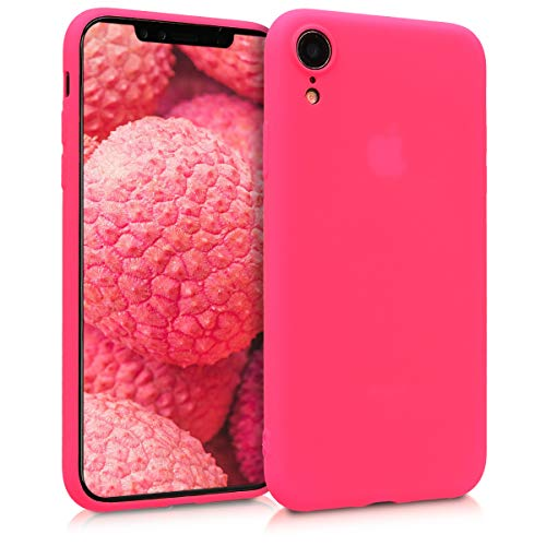 kwmobile TPU Silicone Case for Apple iPhone XR - Soft Flexible Shock Absorbent Protective Phone Cover - Neon Pink