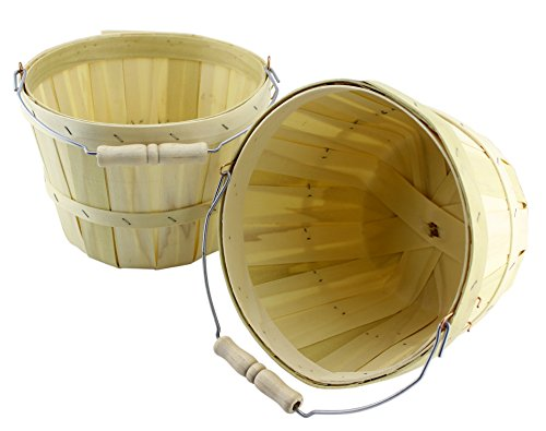 Half Peck Round Wooden Baskets (2-Pack); Natural Wood Fruit & Vegetable Picking Basket with Wire Bail / Wood Handle; Also Great for Arts & Crafts or Treat Bucket (Natural Wooden Handles)
