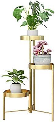 フラワースタンド グリーンプラントシミュレーション花のシンプルなヨーロピアンスタイルの錬鉄のフラワースタンドラック 花台で庭など様々な場所 (Color : Gold, Size : 50x90cm)