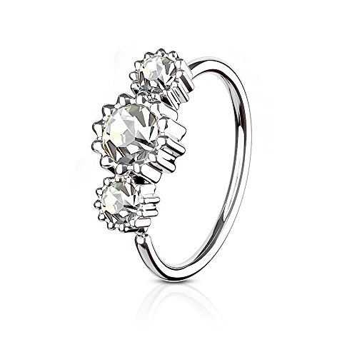 Jeweled Circular Barbell Ring - MoBody Surgical Steel Multi Purpose Piercing Hoop CZ Jeweled Piercing Ring for Nose Ring and Cartilage Earrings (Silver-Tone with Clear CZ)