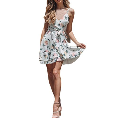 Floral Ruffled Chemise - Women's Floral Print Sling Dresses Deep V Ruffled Bohemian Skirt Casual Beach Mini Dress