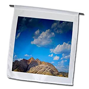 Jos Fauxtographee Outdoor - The Snow anyone Mountains with vivid Blue sky and clouds - 18 x 27 inch Garden Flag (fl_79857_2)