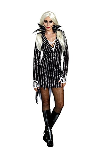 Dreamgirl Women's Madame Skeleton Costume Suit Set, Black, Medium -