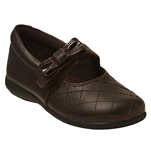 Rachel Shoes Little Girls Brown Quilted Stitch Bow Mary Jane Shoes 8 Toddler