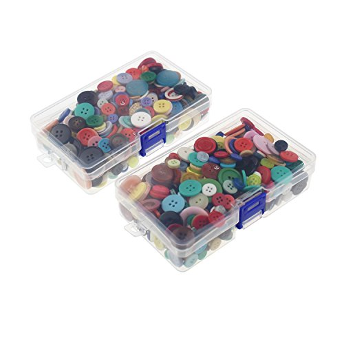 LJY 1000 Pieces Round Craft Resin Buttons 2 and 4 Holes Assorted Colors and Sizes with Clear Plastic Storage Boxes for Sewing DIY Crafts Childrens Manual Button Painting