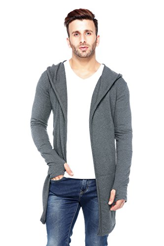 Tinted Mens Cotton Blend Hooded Long Line Cardigan With Thumb Insert