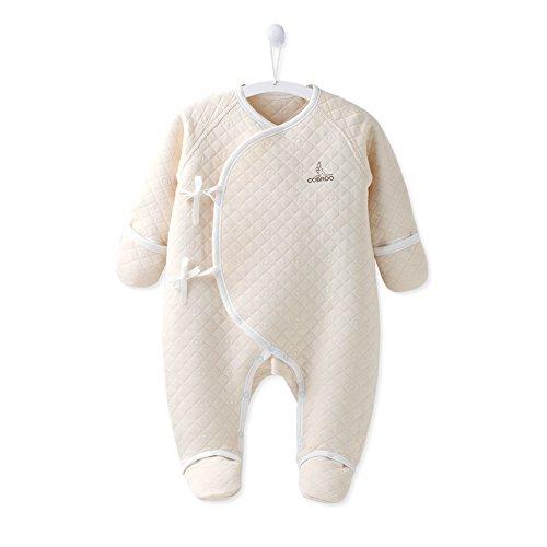 COBROO Unisex Newborn Infant Baby Warm Long-Sleeve Footie Bodysuit Onesies 100% Cotton, Khaki