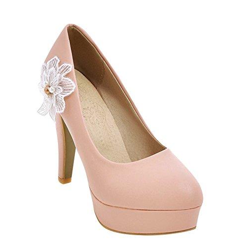 Carolbar Mujeres Applique Platform Nupcial Boda Tacones Altos Bombas Zapatos Rosa