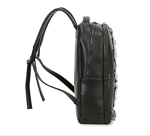 Steampunk Shoulder Bag,Personalized Skull Leather Rivet Backpack for Men