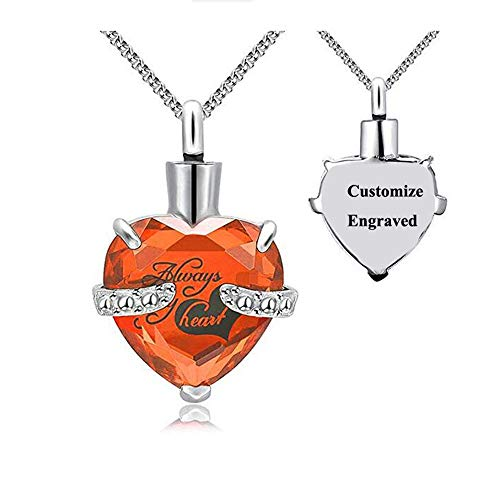 Free Engraving—Heart Cremation Urn Birthstone Necklace for Ashes Personalized for Women Men Always in My Heart Keepsake Urn Locket Pendant Memorial Necklace Stainless Steel