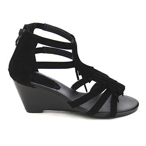 Top Moda Queen-6 Women's Wedge Heel Ankle Strap Fringe Sandals,Black,6