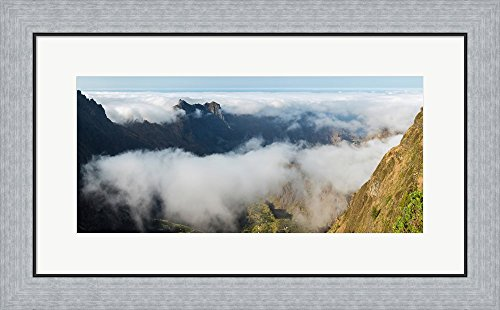 Santo Antao Cape (High angle view of clouds in the valley, Santo Antao, Cape Verde by Panoramic Images Framed Art Print Wall Picture, Flat Silver Frame, 28 x 17 inches)