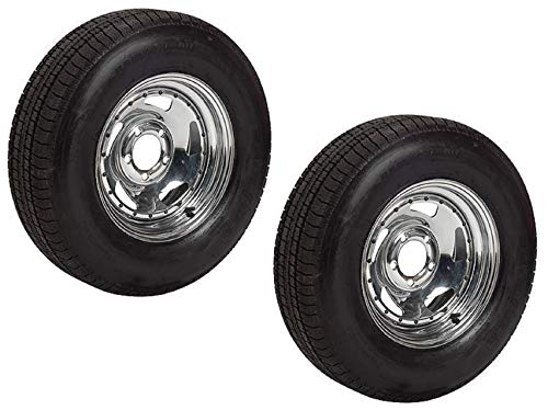 2-Pack Radial Trailer Tire On Rim ST205/75R15 Load D (5 on 4.5) Direct Chrome Chrome Rims And Tires