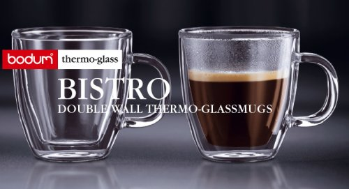 Bodum Bistro Coffee Mug, Double-Wall Insulated Glass Mugs, Clear, .15 Liter, 5 Ounces Each (Set of 2) by Bodum (Image #2)