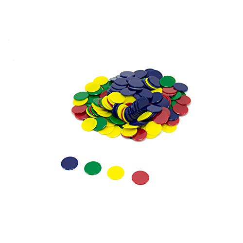 hand2mind Solid Colorful Plastic Counting Chips (Set of 200)