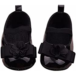Voberry® Toddler Baby Girl's Princess Walking Mary Jane Crib Shoes Ballet Flats (12~18 Month, Black)
