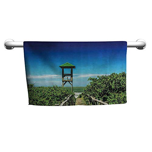 Hand Towel Seaside Decor Collection,Jetty Pier Leading to Tropical Seacoast Greenery Bushes Sand Travel Destinations Image,Green Blue,Towel for ()