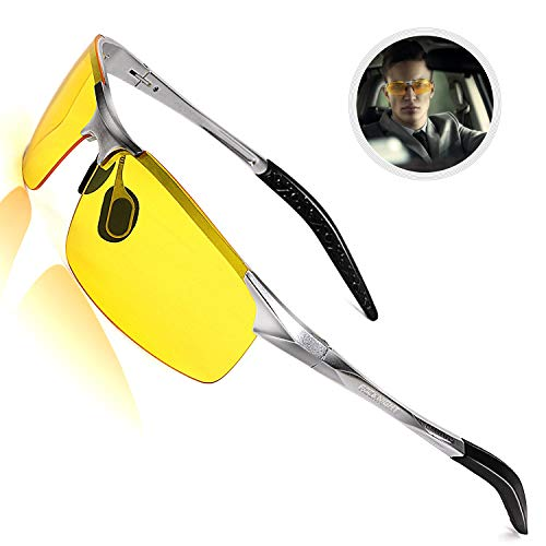 ROCKNIGHT Polarized Night Driving Glasses for Men UV Protection HD Yellow Anti Glare Glasses Ultra Lightweight Al-Mg Metal Frame Outdoor Rimless Sunglasses