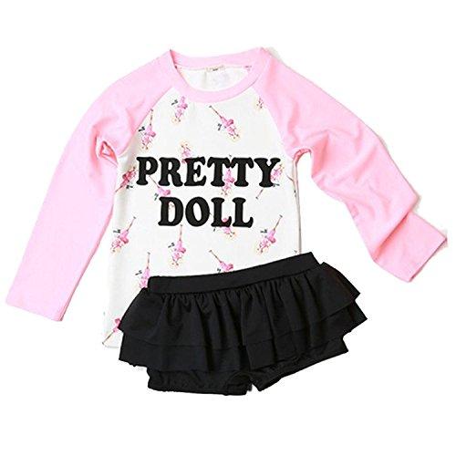 Jojobaby Baby Girls Kids Toddler 2 Pcs Long Sleeve Letter Print with Tutu Swim Skirt Swimsuit Rash Guard Bathing Suit UPF 50+