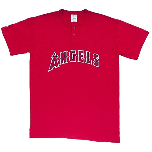 MLB Los Angeles Angels Two Button Men's Jersey T-Shirt Small