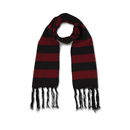 Dr. Martens Unisex Football Stripe Scarf, Black, Oxblood, (Red Stripe Scarf)
