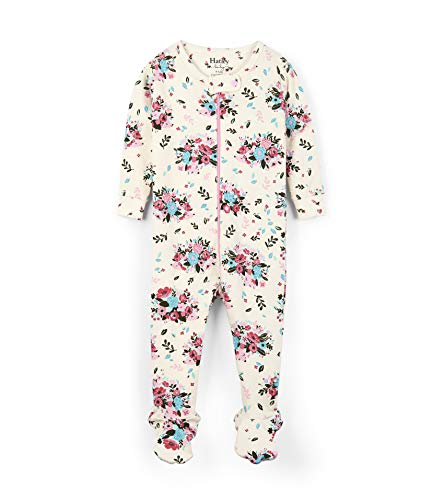 Hatley Baby Girls Organic Cotton Footed Sleepers, Floral Hedgehogs, 3-6 Months