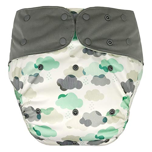 Cloth Diaper Cover - Reusable Special Needs Incontinence Briefs for Big Kids, Teens and Adults (Youth, Cloud)
