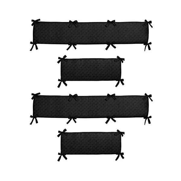 Sweet Jojo Designs Black Minky Dot Collection Crib Bumper