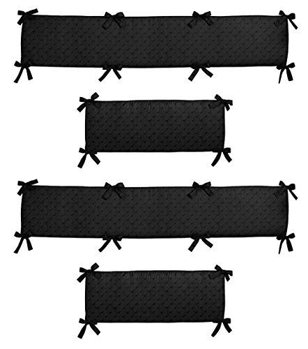 Sweet Jojo Designs Black Minky Dot Collection Crib Bumper (Black Crib Bumper)