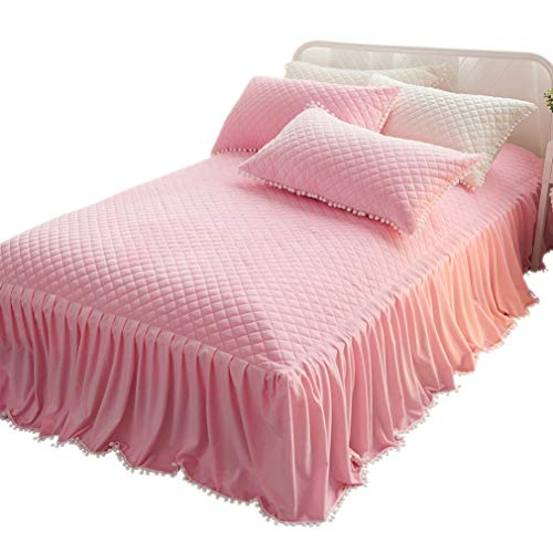 Color Luxury Bed Sheet - LIFEREVO Luxury Velvet Mink Diamond Quilted Fitted Bed Sheet 3 Side Coverage 18 inch Drop Dust Ruffle Bed Skirt with Pompoms Fringe (Queen Pink)