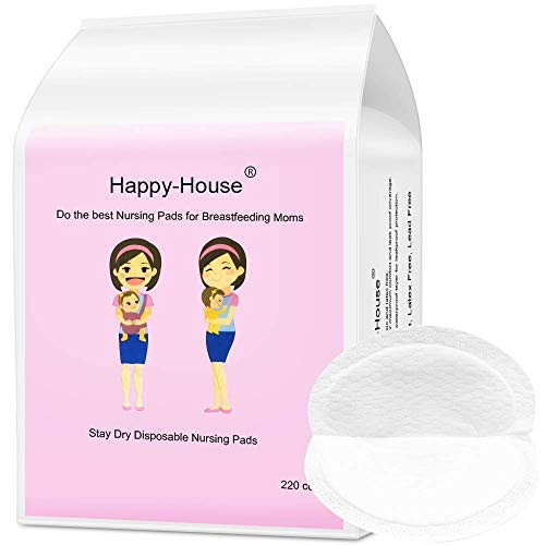 Happy-House 220 Counts Stay Dry Disposable Nursing Pads for Breastfeeding