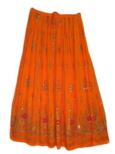 Yoga Trendz Womens Indian Sequin Crinkle Broomstick Gypsy Long Skirt (Orange)