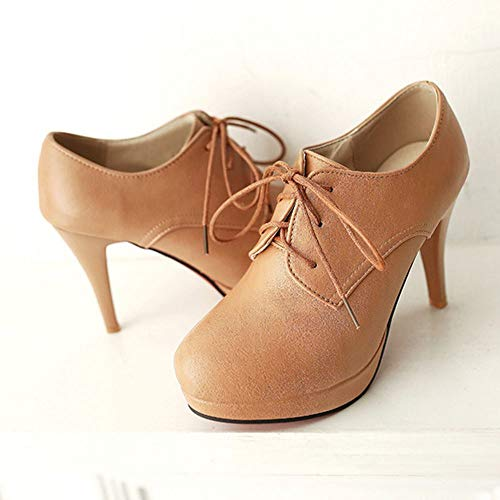Fashion Apricot Women 3 High Lace Top up Melady Pumps F5aUZUW