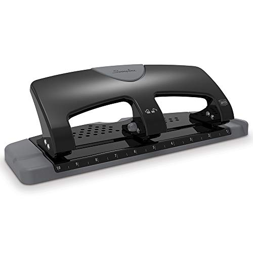 Swingline 3 Hole Punch, Hole Puncher, SmartTouch, 20 Sheet Punch Capacity, Low Force, Black/Gray (74133) ()