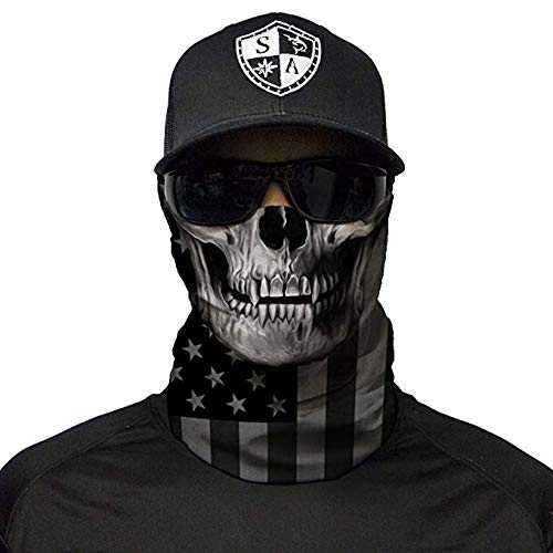 SA Company Face Shield Micro Fiber Protect Wind, dirtbugs. Worn as Balaclava, Neck Gaiter & Head Band Hunting, Fishing, Boatint Lovers. - Blackout American Flag Skullg, Cycling, Paintball, Sal