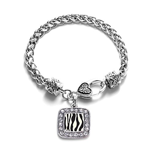(Inspired Silver - Zebra Print Braided Bracelet for Women - Silver Square Charm Bracelet with Cubic Zirconia Jewelry )