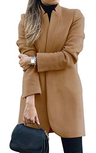 CinShein 2020 Women Trench Coat Casual Mid Long Overcoat Lapel Open Front Slim Fit Winter Blazer Cardigan Outwear