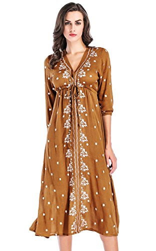 brown and white floral dress - 5