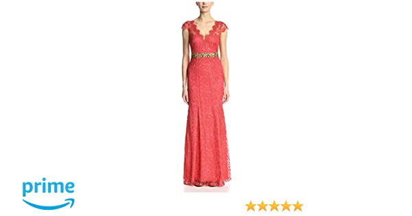 73eb828a Amazon.com: Marchesa Notte Women's Cap Sleeve Lace Dress, Sienna, 16:  Clothing