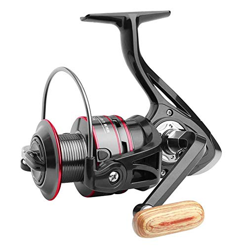 Spinning Reel, Fishing Reels Spinning Fresh Water Saltwater, Ultra Lightweight Smooth Spining Fishing Reel with Wood Handle, Alloy Reel, 5.2 1 Gear Ratio, Sizes 500-6000