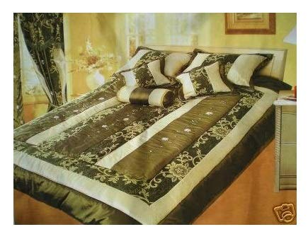 Cotton Sheet Set Emb - OctoRose Queen Faux Silk and Cotton Jacquard with Ribbon Emb' Patchwork Comforter