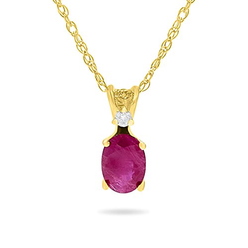 (14k Yellow Gold Genuine Oval Red Ruby and Diamond Pendant Necklace, Birthstone of July, 18 Inch Chain)