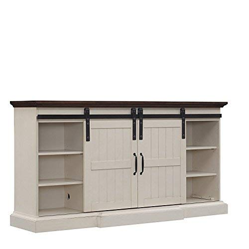 Hogan Electric Fireplace TV Stand in Weathered White with Contemporary Fireplace