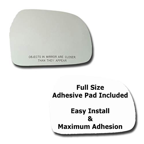Mirror Glass + Full Size Adhesive Pad for 1999-2004 Chevrolet Tracker Passenger Side Replacement