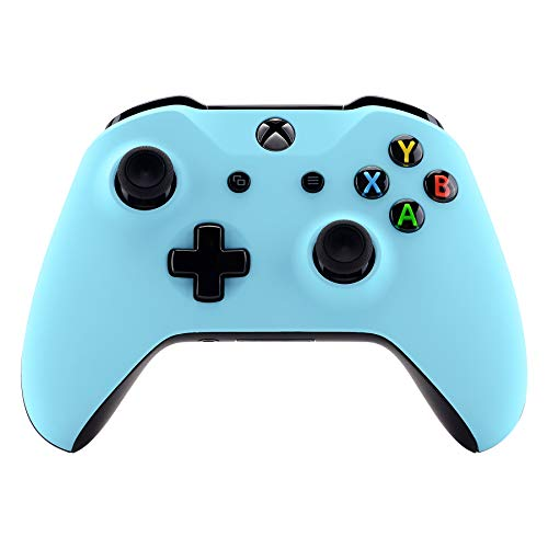 eXtremeRate Heaven Blue Faceplate Cover, Soft Touch Front Housing Shell Case, Comfortable Soft Grip Replacement Kit for Xbox One S & Xbox One X Controller (Model 1708)