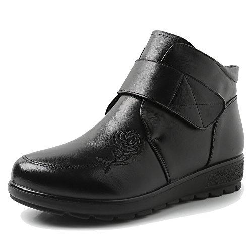 KHSKX-Mamá Zapatos Cálida En Invierno Y La Cachemira Cuero En Los Ancianos Ancianos Botas Con Suela Blanda Antideslizante40 Negro 35 black