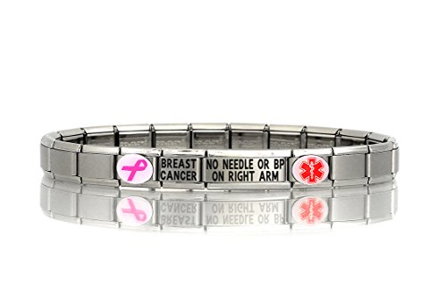 BREAST CANCER NO NEEDLE OR BP ON RIGHT ARM - Dolceoro Italian Modular Medical Alert ID Bracelet